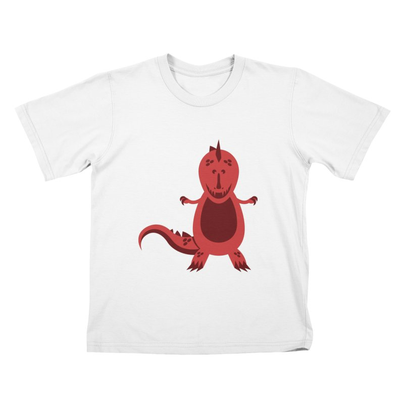 Red T-rex Kids T-Shirt by Angry Guppie Design's Artist Shop