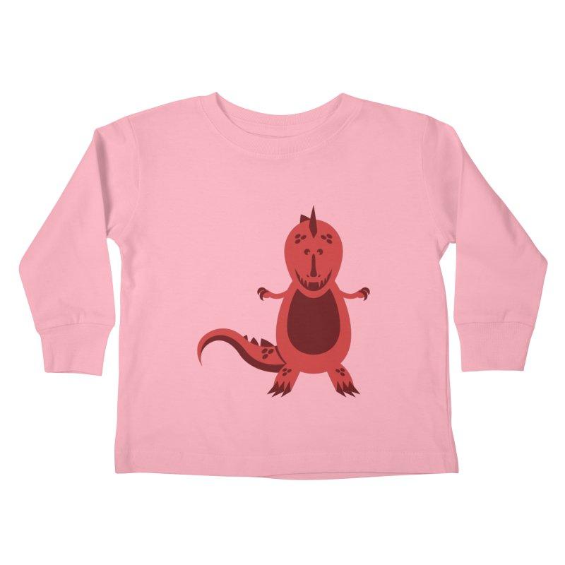 Red T-rex Kids Toddler Longsleeve T-Shirt by Angry Guppie Design's Artist Shop