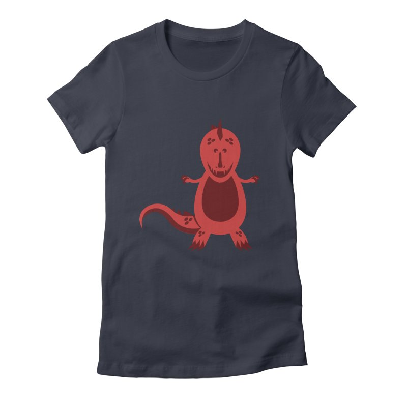 Red T-rex Women's Fitted T-Shirt by Angry Guppie Design's Artist Shop