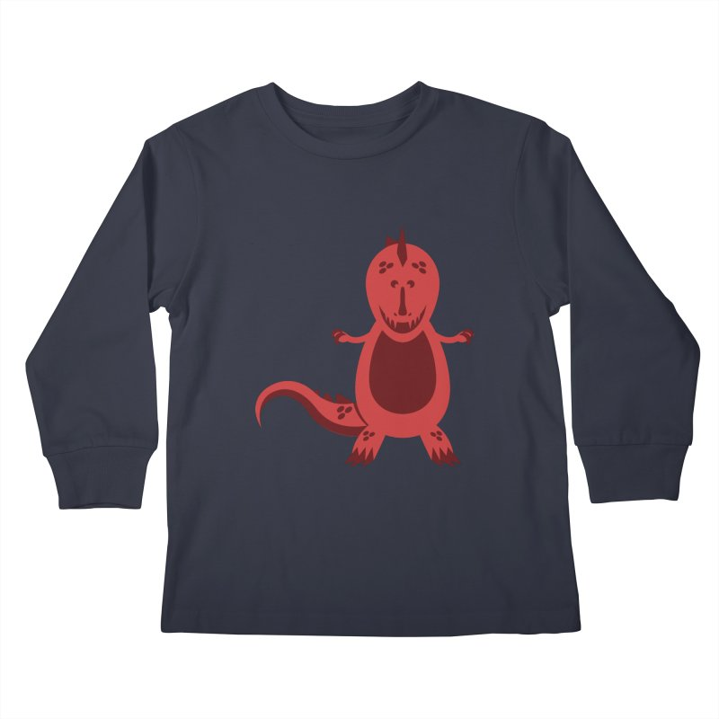 Red T-rex Kids Longsleeve T-Shirt by Angry Guppie Design's Artist Shop