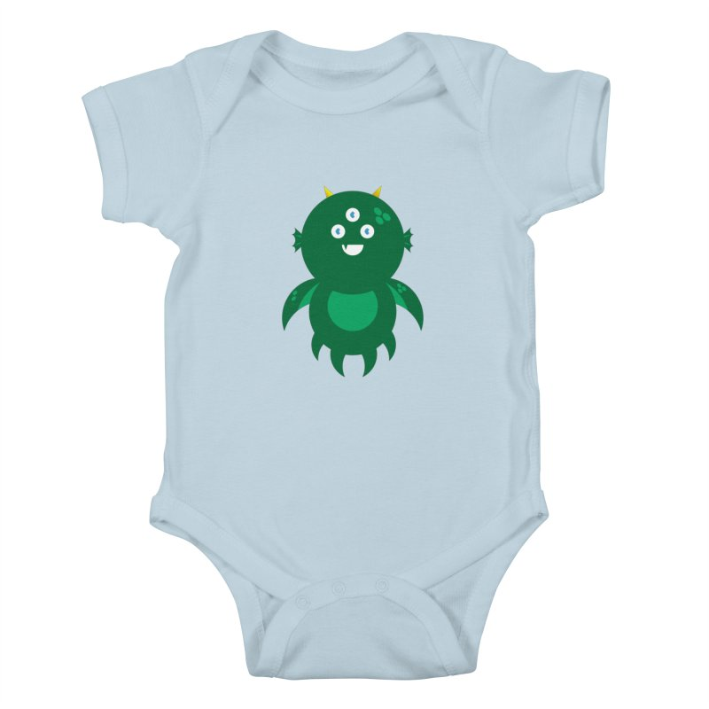 Happy Sea Monster Kids Baby Bodysuit by Angry Guppie Design's Artist Shop