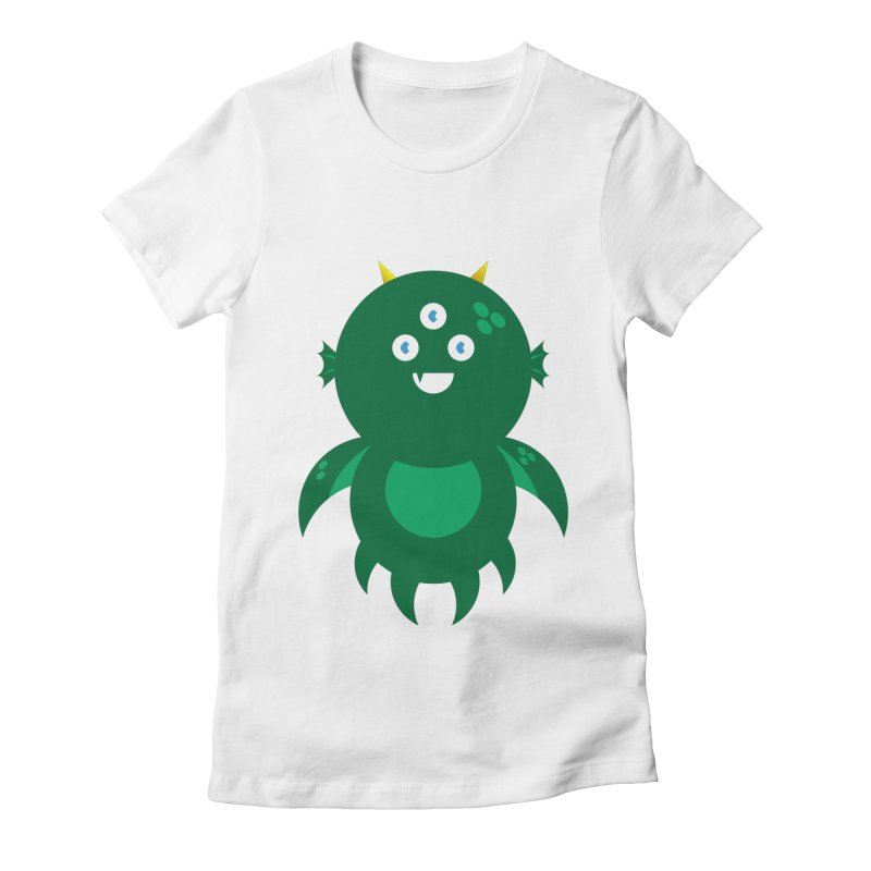 Happy Sea Monster Women's Fitted T-Shirt by Angry Guppie Design's Artist Shop