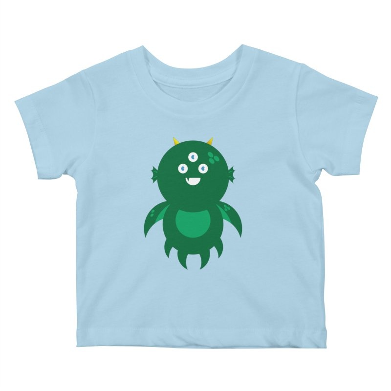 Happy Sea Monster Kids Baby T-Shirt by Angry Guppie Design's Artist Shop