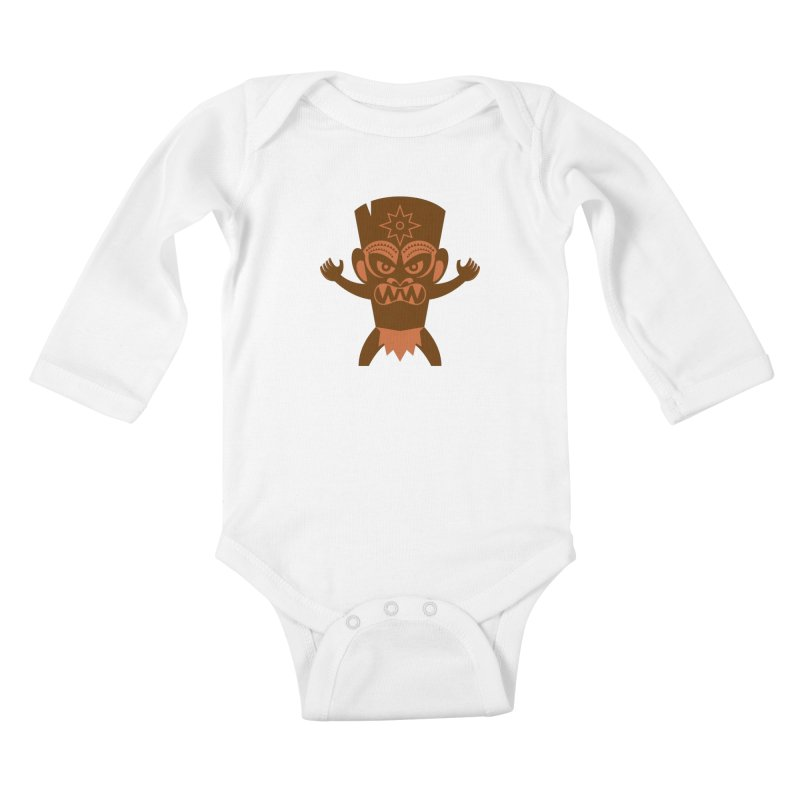 Tiki Kids Baby Longsleeve Bodysuit by Angry Guppie Design's Artist Shop