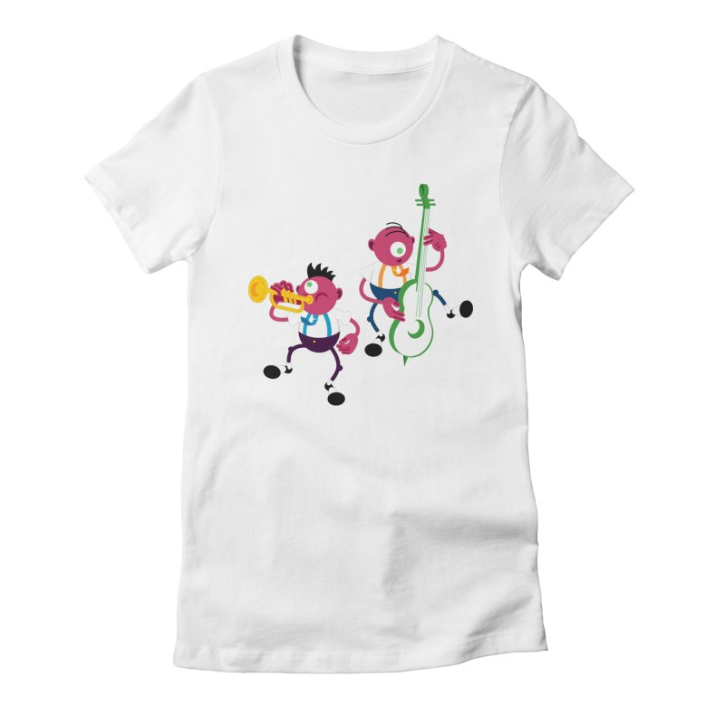 Dancing Twins Women's Fitted T-Shirt by Angry Guppie Design's Artist Shop
