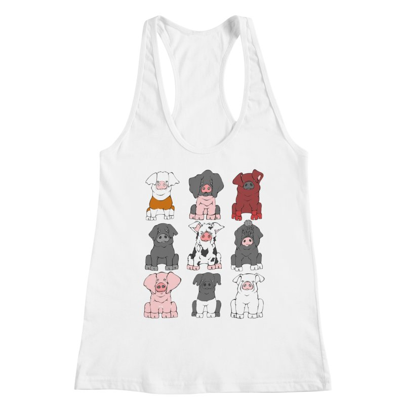 Pigs Pigs Pigs Women's Racerback Tank by Angry Squirrel Studio