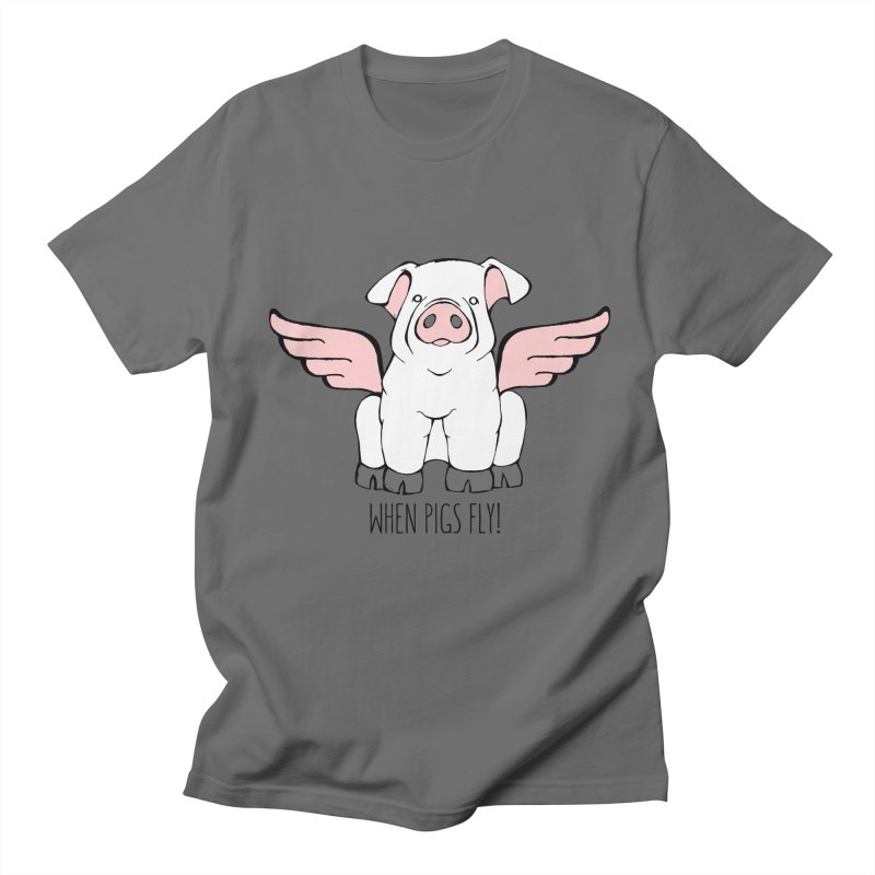 When Pigs Fly! Chester White. Men's T-Shirt by Angry Squirrel Studio