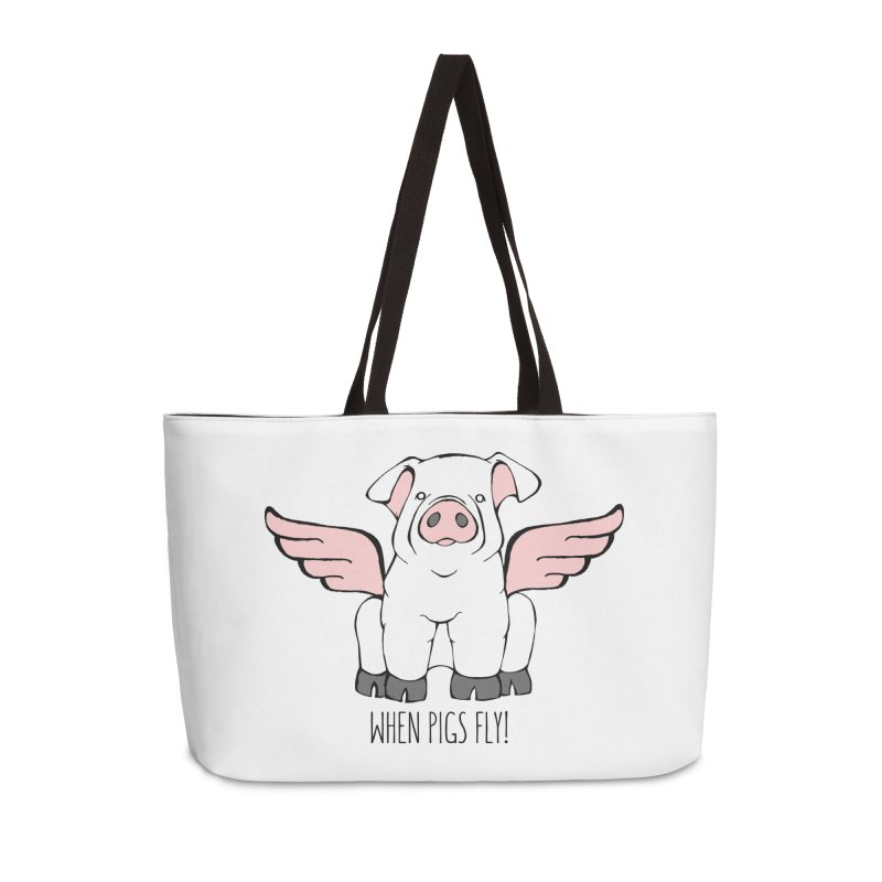 When Pigs Fly! Chester White. Accessories Bag by Angry Squirrel Studio