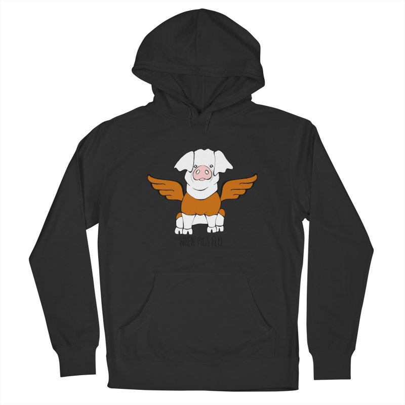 When Pigs Fly! Hereford Men's French Terry Pullover Hoody by Angry Squirrel Studio