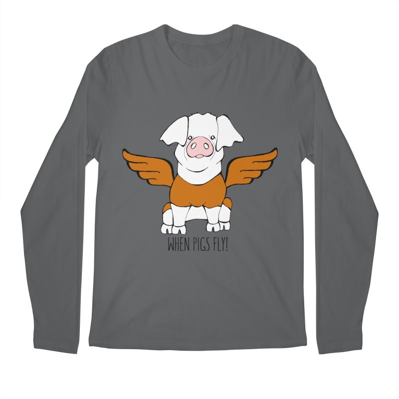 When Pigs Fly! Hereford Men's Regular Longsleeve T-Shirt by Angry Squirrel Studio