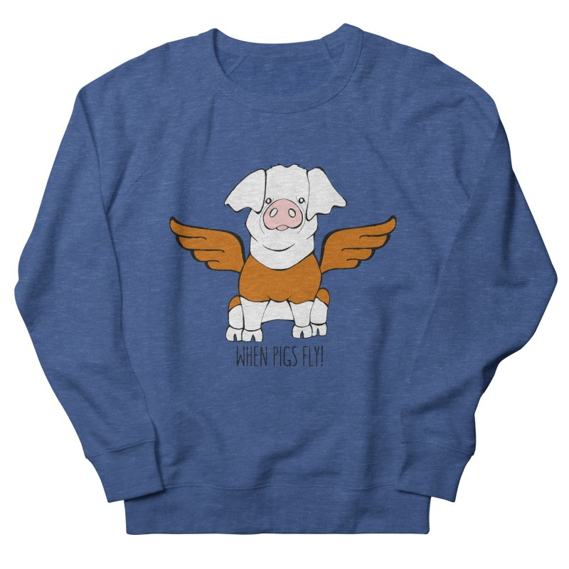 When Pigs Fly! Hereford Women's French Terry Sweatshirt by Angry Squirrel Studio