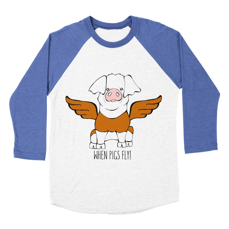 When Pigs Fly! Hereford Women's Baseball Triblend Longsleeve T-Shirt by Angry Squirrel Studio