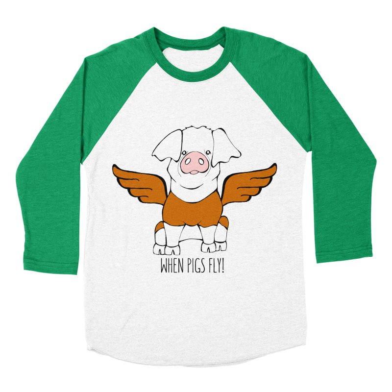 When Pigs Fly! Hereford Women's Baseball Triblend T-Shirt by Angry Squirrel Studio