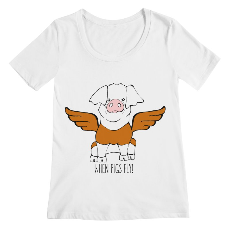 When Pigs Fly! Hereford Women's Regular Scoop Neck by Angry Squirrel Studio