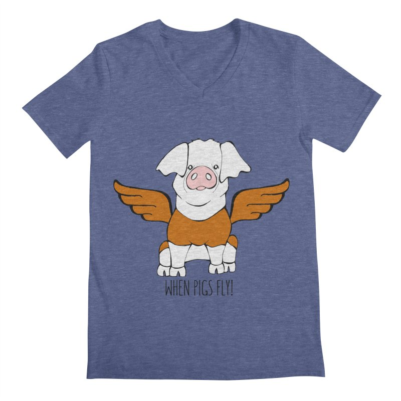 When Pigs Fly! Hereford Men's Regular V-Neck by Angry Squirrel Studio