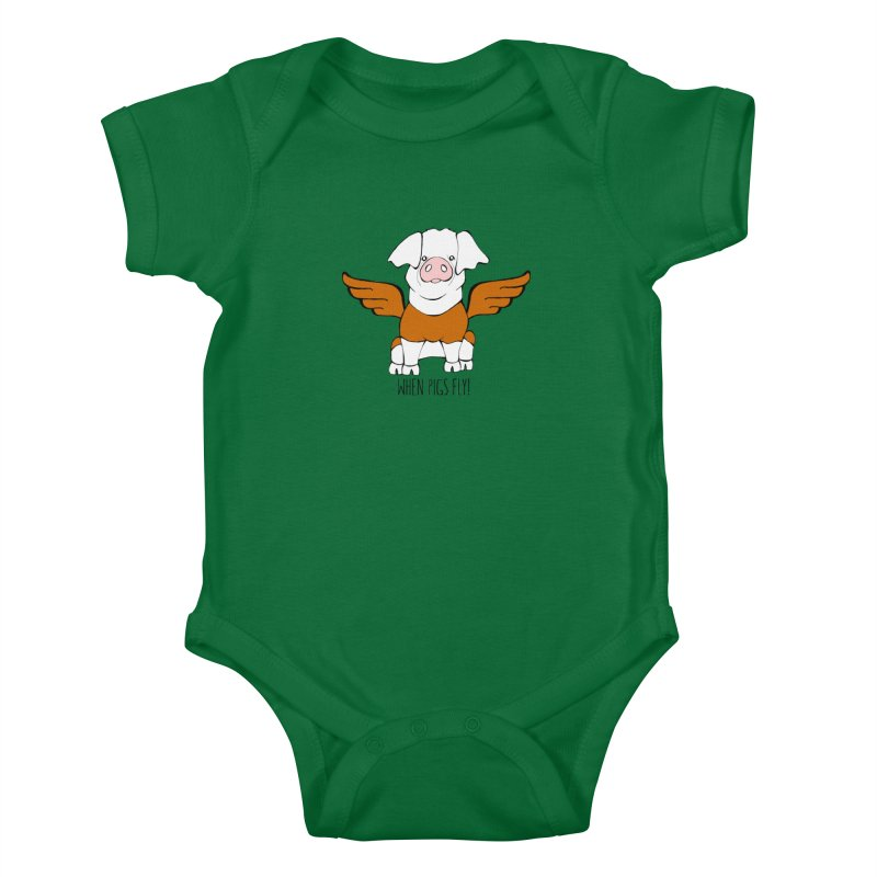 When Pigs Fly! Hereford Kids Baby Bodysuit by Angry Squirrel Studio