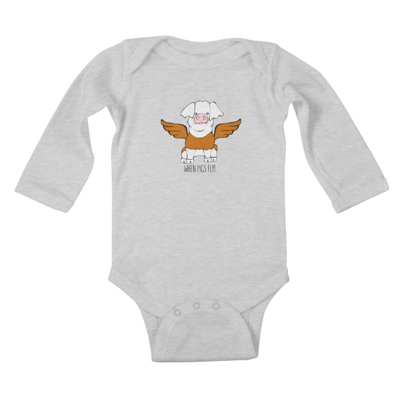 When Pigs Fly! Hereford Kids Baby Longsleeve Bodysuit by Angry Squirrel Studio