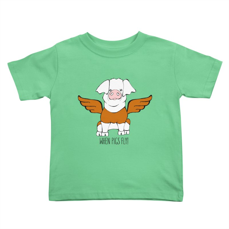 When Pigs Fly! Hereford Kids Toddler T-Shirt by Angry Squirrel Studio