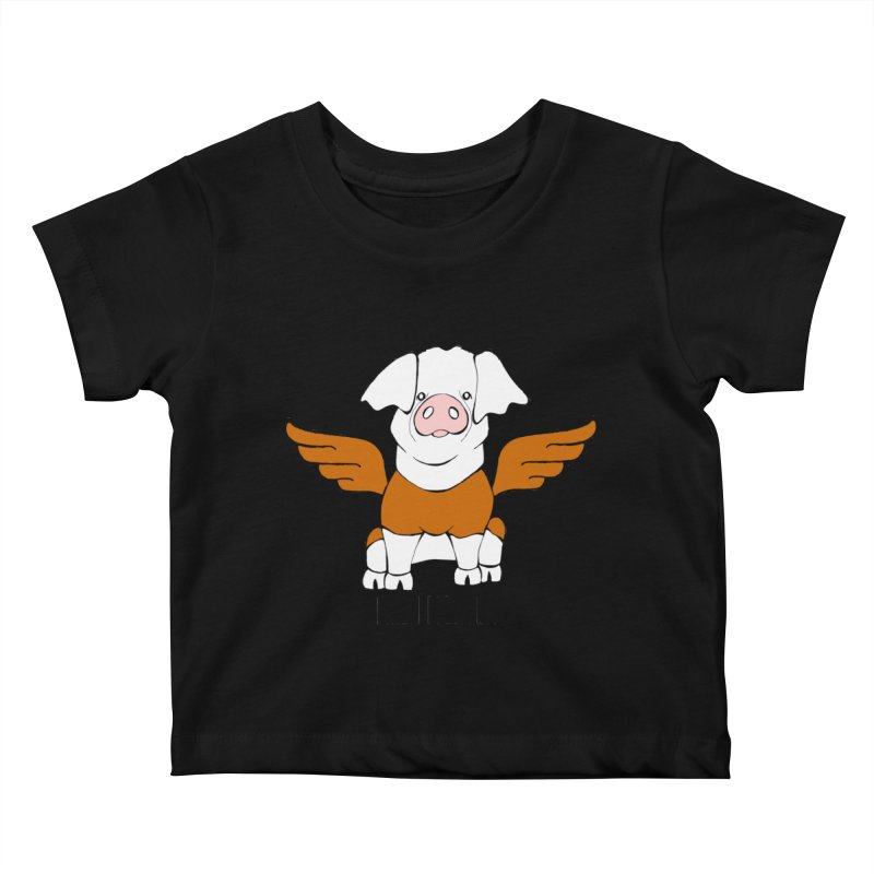 When Pigs Fly! Hereford Kids Baby T-Shirt by Angry Squirrel Studio