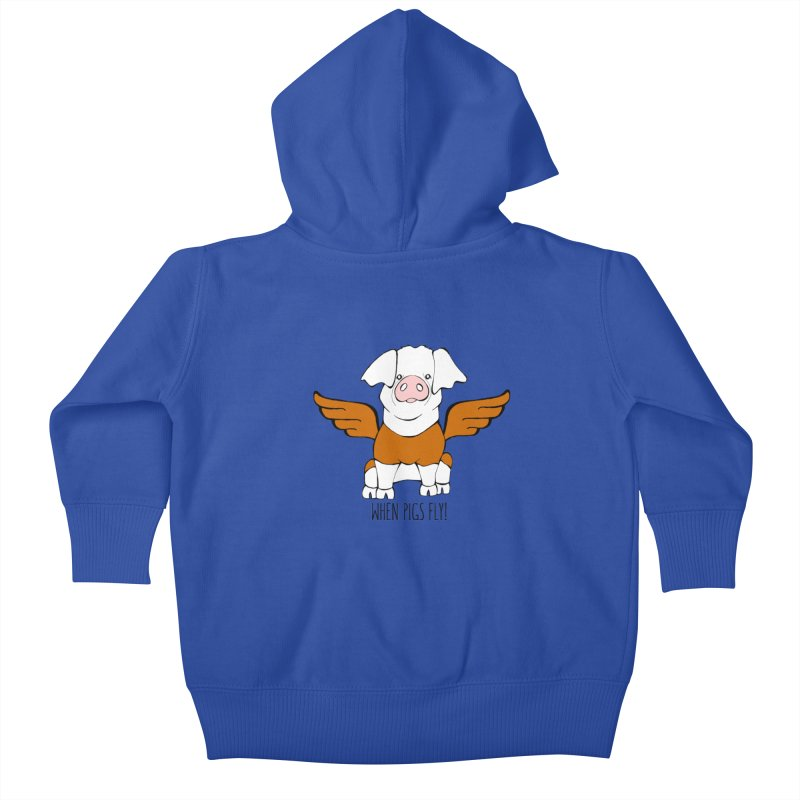 When Pigs Fly! Hereford Kids Baby Zip-Up Hoody by Angry Squirrel Studio