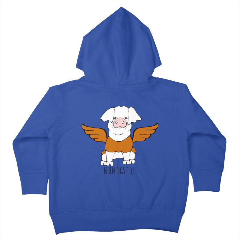 When Pigs Fly! Hereford Kids Toddler Zip-Up Hoody by Angry Squirrel Studio