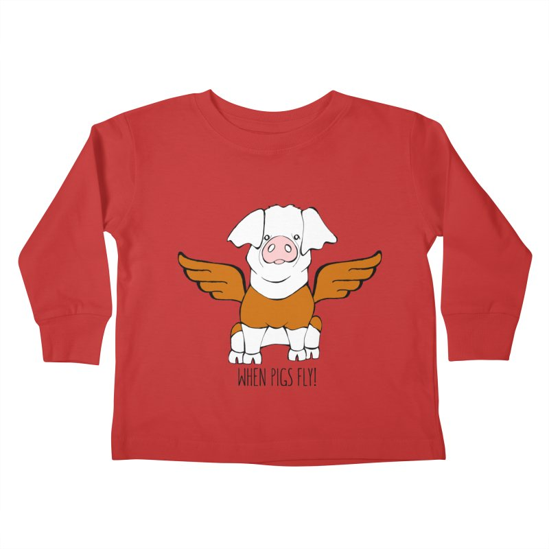 When Pigs Fly! Hereford Kids Toddler Longsleeve T-Shirt by Angry Squirrel Studio