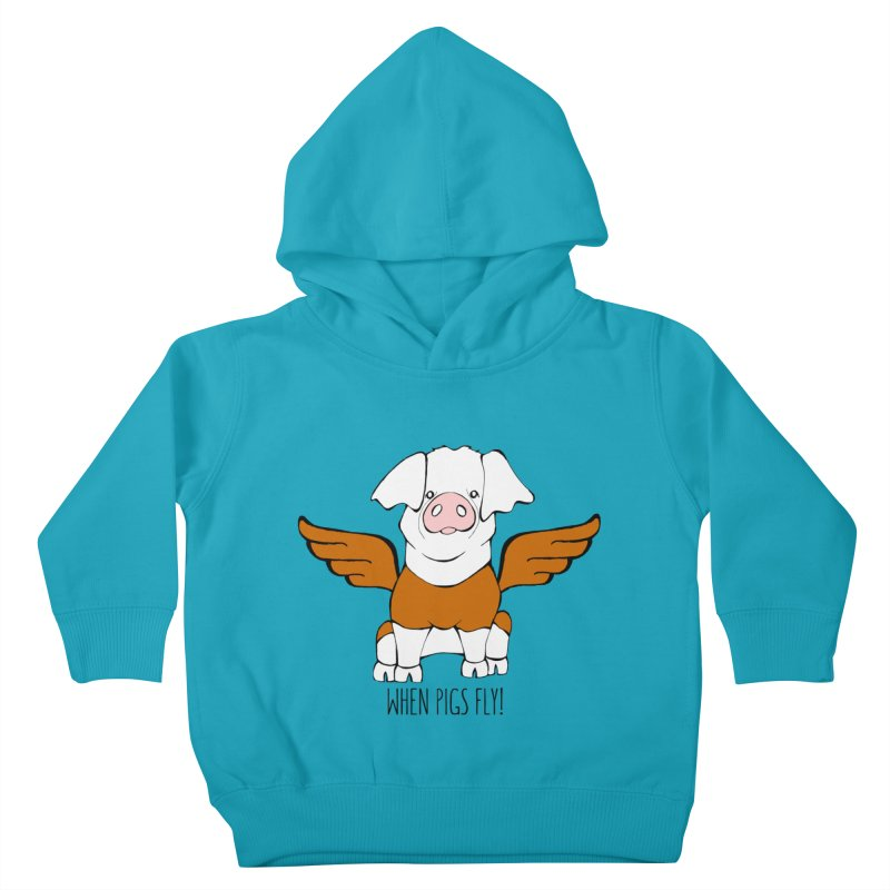 When Pigs Fly! Hereford Kids Toddler Pullover Hoody by Angry Squirrel Studio