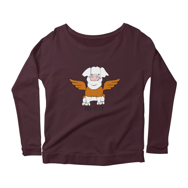 When Pigs Fly! Hereford Women's Longsleeve Scoopneck  by Angry Squirrel Studio