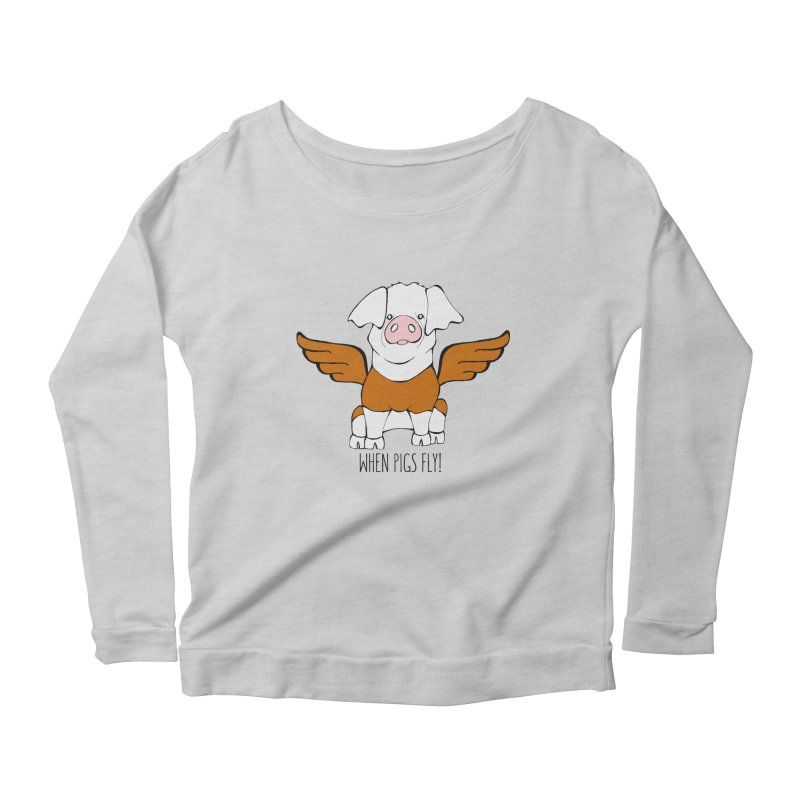 When Pigs Fly! Hereford Women's Scoop Neck Longsleeve T-Shirt by Angry Squirrel Studio