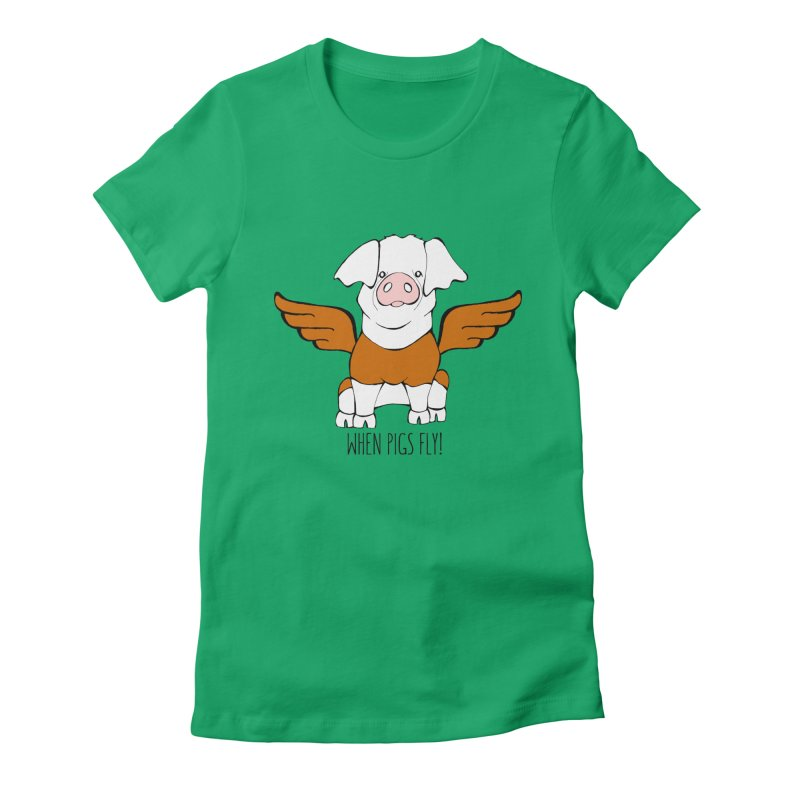 When Pigs Fly! Hereford Women's T-Shirt by Angry Squirrel Studio