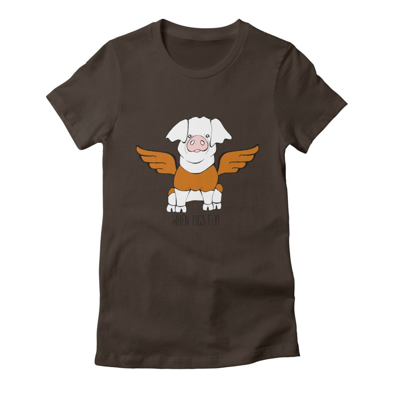 When Pigs Fly! Hereford Women's Fitted T-Shirt by Angry Squirrel Studio