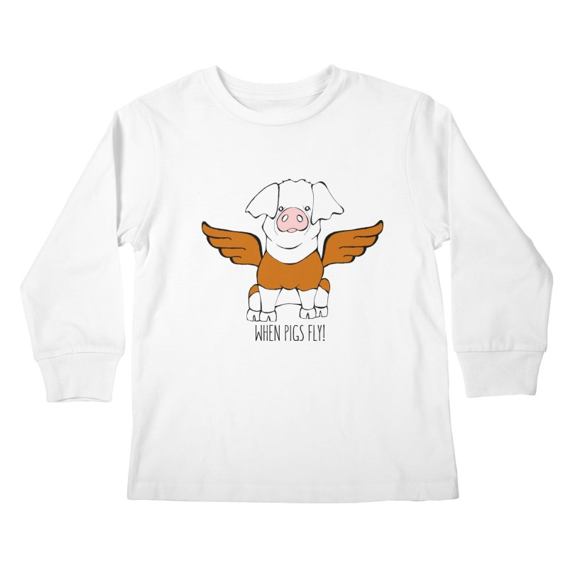 When Pigs Fly! Hereford Kids Longsleeve T-Shirt by Angry Squirrel Studio