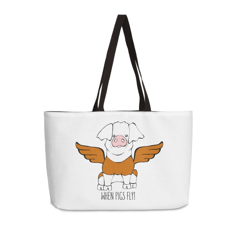 When Pigs Fly! Hereford Accessories Weekender Bag Bag by Angry Squirrel Studio