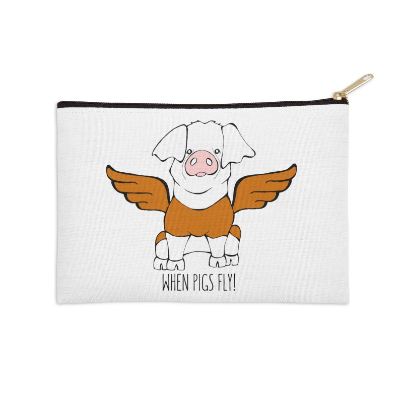 When Pigs Fly! Hereford Accessories Zip Pouch by Angry Squirrel Studio