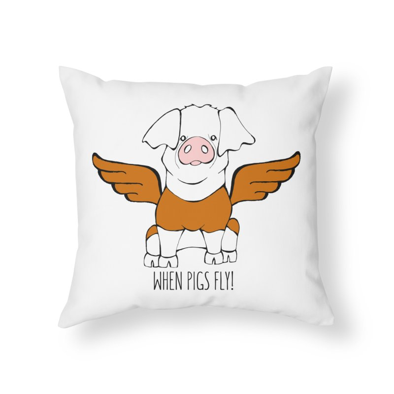 When Pigs Fly! Hereford Home Throw Pillow by Angry Squirrel Studio