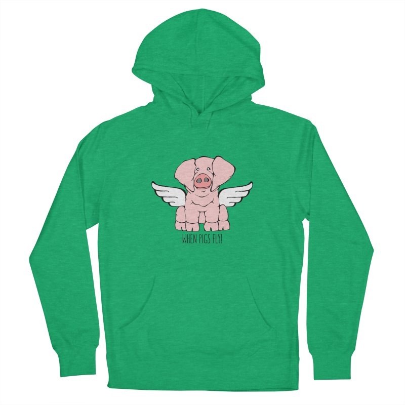 When Pigs Fly: American Landrace Women's Pullover Hoody by Angry Squirrel Studio