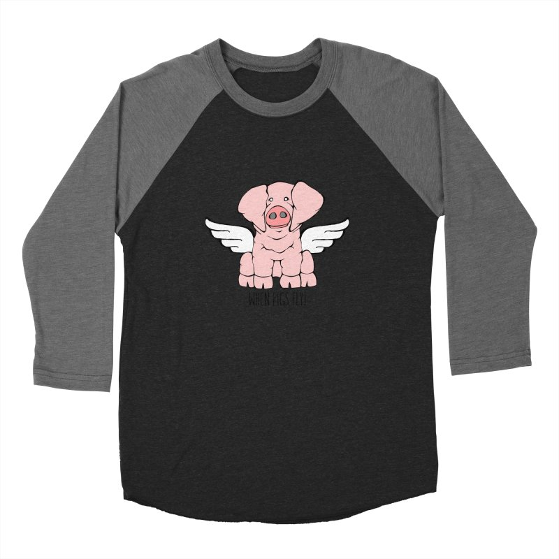 When Pigs Fly: American Landrace Women's Baseball Triblend Longsleeve T-Shirt by Angry Squirrel Studio
