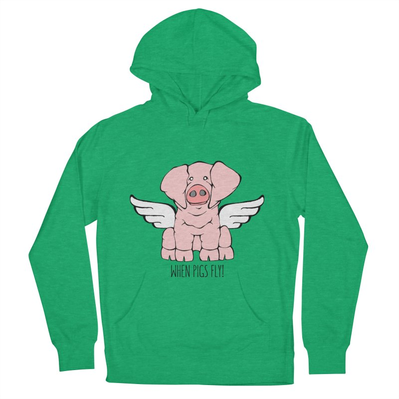 When Pigs Fly: American Landrace Men's Pullover Hoody by Angry Squirrel Studio