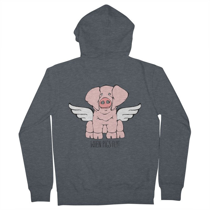 When Pigs Fly: American Landrace Men's French Terry Zip-Up Hoody by Angry Squirrel Studio