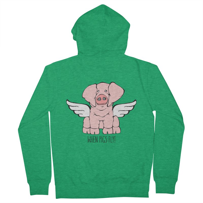When Pigs Fly: American Landrace Men's Zip-Up Hoody by Angry Squirrel Studio