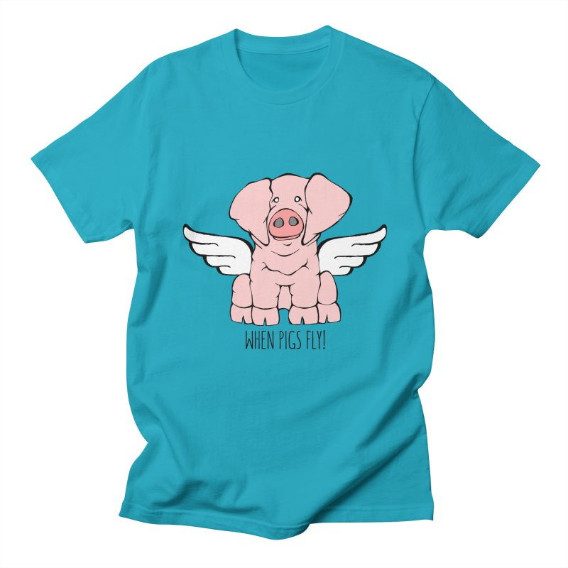 When Pigs Fly: American Landrace Men's Regular T-Shirt by Angry Squirrel Studio