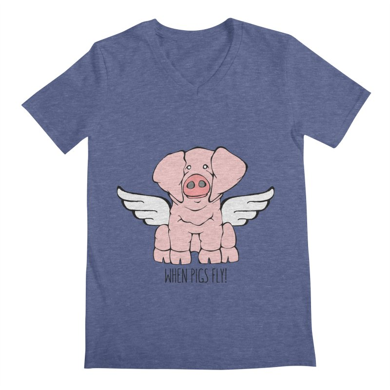 When Pigs Fly: American Landrace Men's V-Neck by Angry Squirrel Studio