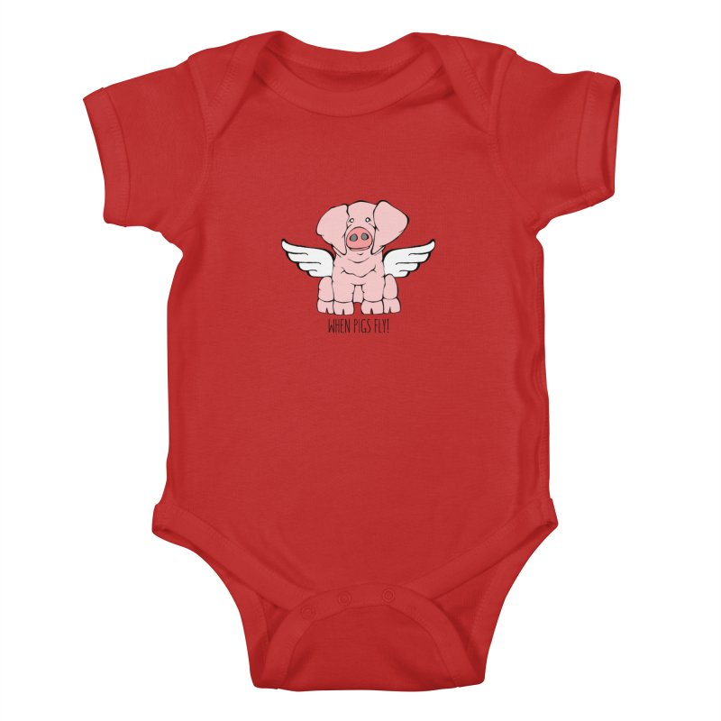When Pigs Fly: American Landrace Kids Baby Bodysuit by Angry Squirrel Studio