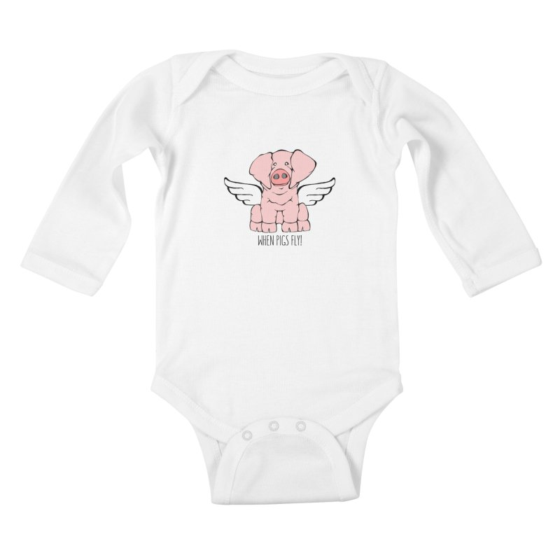 When Pigs Fly: American Landrace Kids Baby Longsleeve Bodysuit by Angry Squirrel Studio