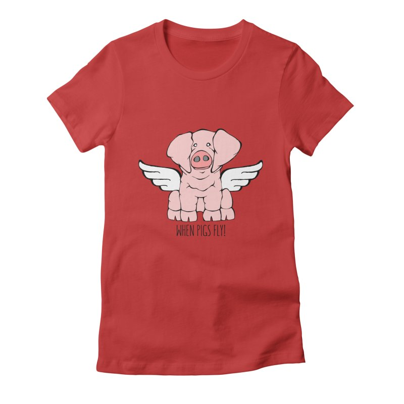 When Pigs Fly: American Landrace Women's T-Shirt by Angry Squirrel Studio