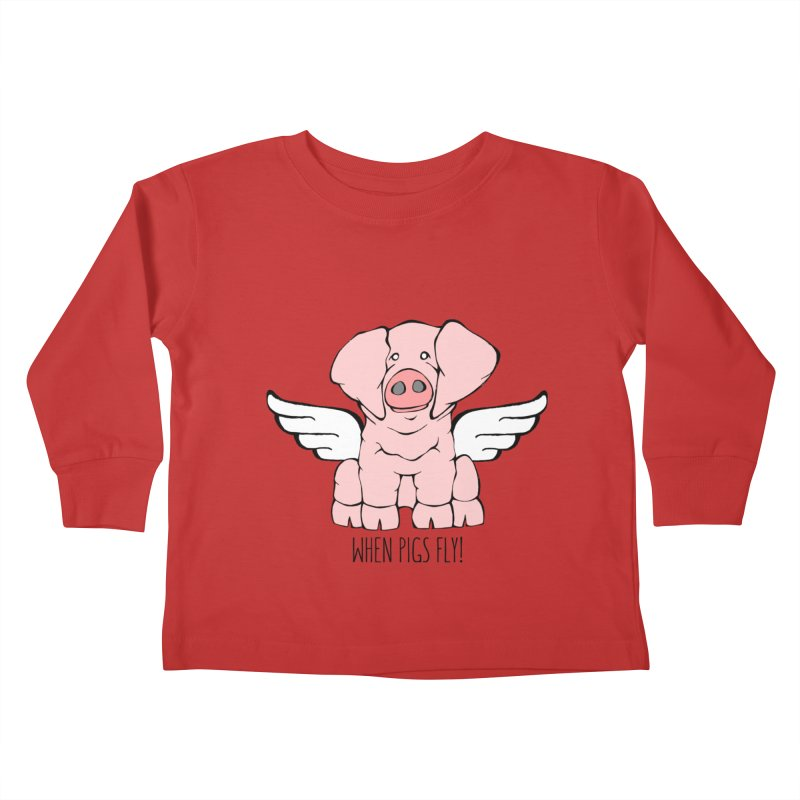 When Pigs Fly: American Landrace Kids Toddler Longsleeve T-Shirt by Angry Squirrel Studio