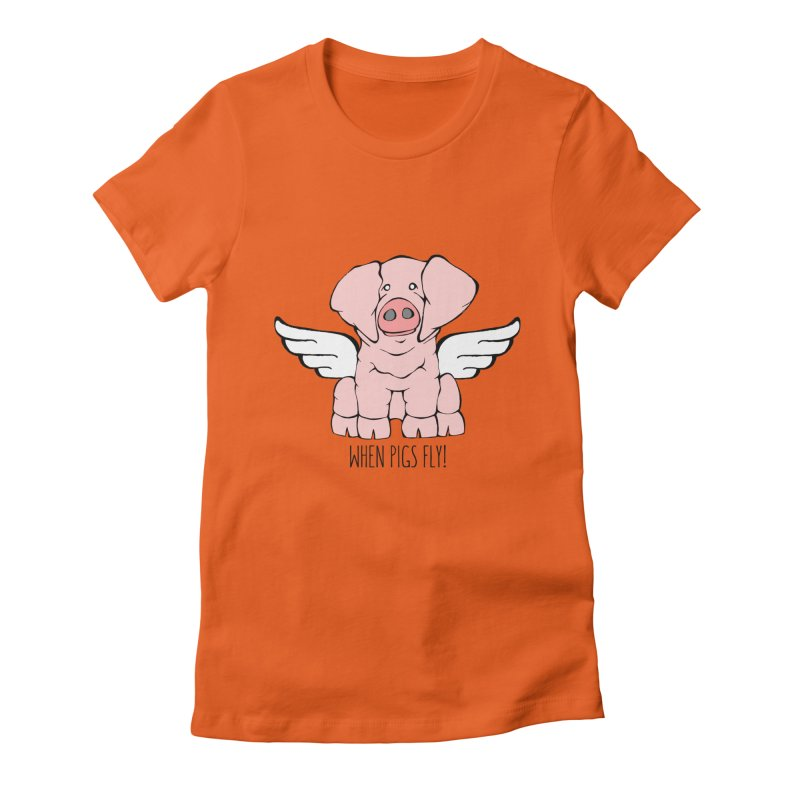 When Pigs Fly: American Landrace Women's Fitted T-Shirt by Angry Squirrel Studio