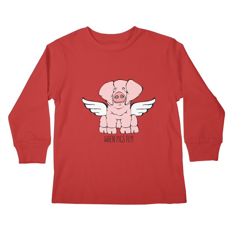 When Pigs Fly: American Landrace Kids Longsleeve T-Shirt by Angry Squirrel Studio