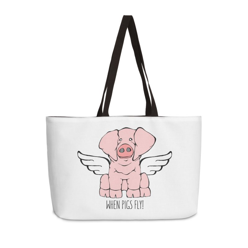 When Pigs Fly: American Landrace Accessories Weekender Bag Bag by Angry Squirrel Studio