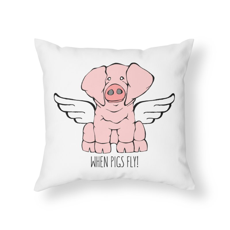 When Pigs Fly: American Landrace Home Throw Pillow by Angry Squirrel Studio